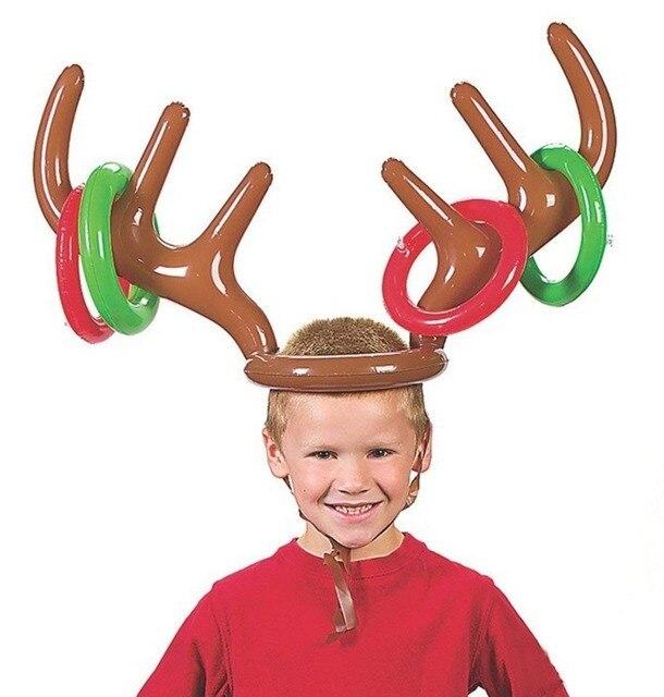 풍선 PVC 크리스마스 순록 안뜨개 모자 반지 토스 재미있는 게임 호의 크리스마스 크리스마스 파티 장식
