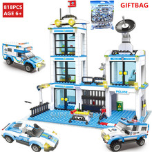 818Pcs City Police Station LegoINGs Technic Building Blocks Sets SWAT Brinquedos Playmobil DIY Bricks Kids Toys Christmas Gifts