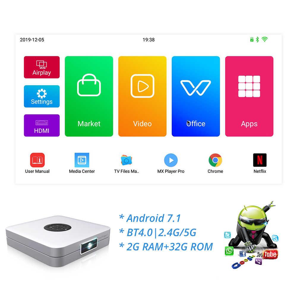 TouYinger K2 DLP Bluetooth Smart Android Proyektor Dukungan Wifi FULL HD Video Mirroring 2GB RAM 32GB ROM Rumah film Di Bioskop 3D