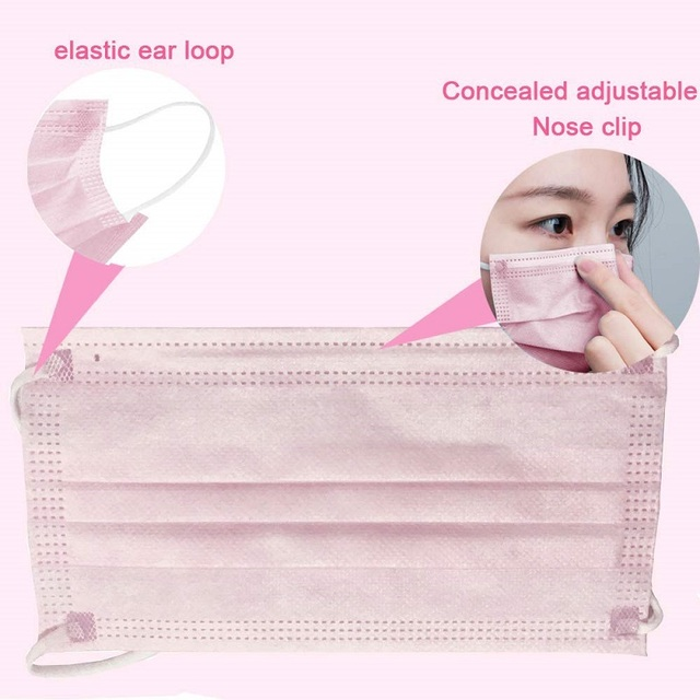 10/20/30/50/100/200 pcs Pink Color Non-woven 3 Ply Disposable Face Mouth Masks Breathable Mask with Elastic Ear Band Face Masks 1