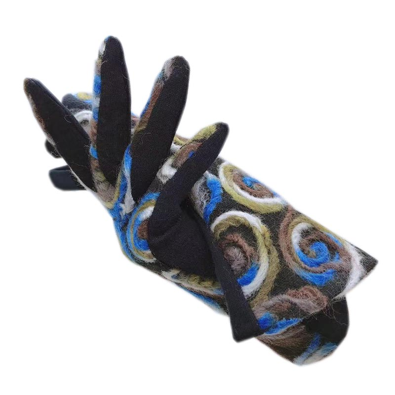 Gloves winter ladies wrist fashion pure cotton gloves AB version new touch screen autumn and winter blue warm driving 2021-00053