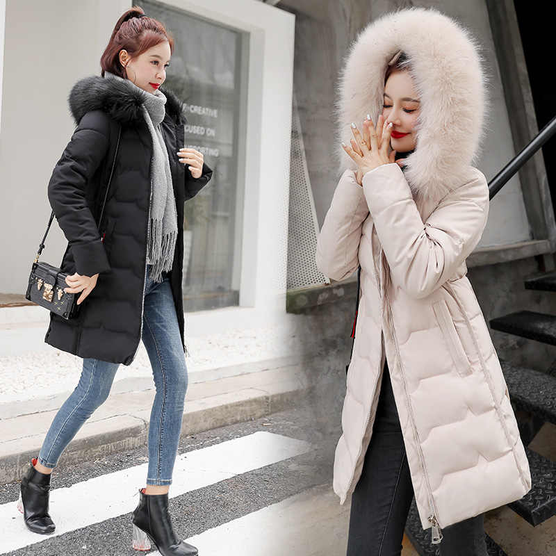 2019 new winter jacket women's long section of high-quality fur collar hooded jacket