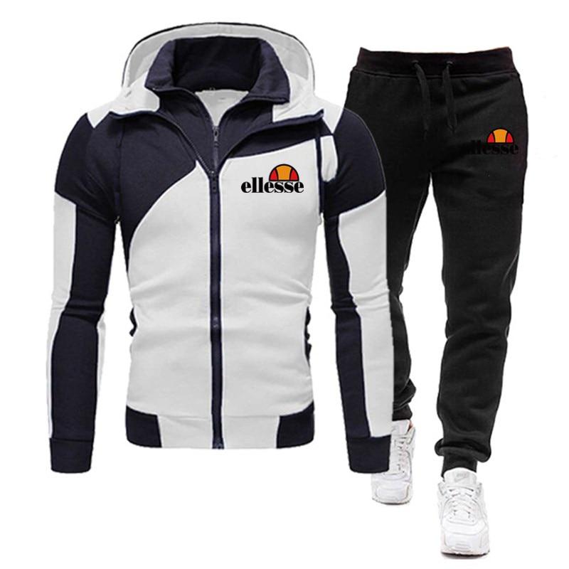 Nowa marka męska strój sportowy 2-sztuka bluza z kapturem + spodnie męskie sport nadruk odzież do joggingu