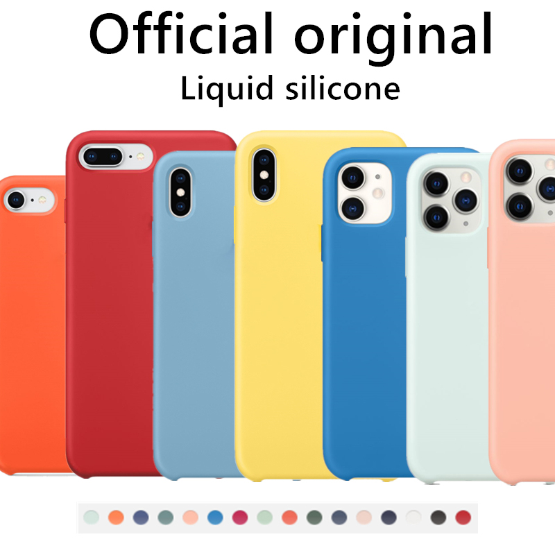 Original Official Liquid Case For iPhone 7 8 Plus 12 Mini X XR XS Max 6 6s Case For iPhone 11 Pro Max SE 2020 Full Cover