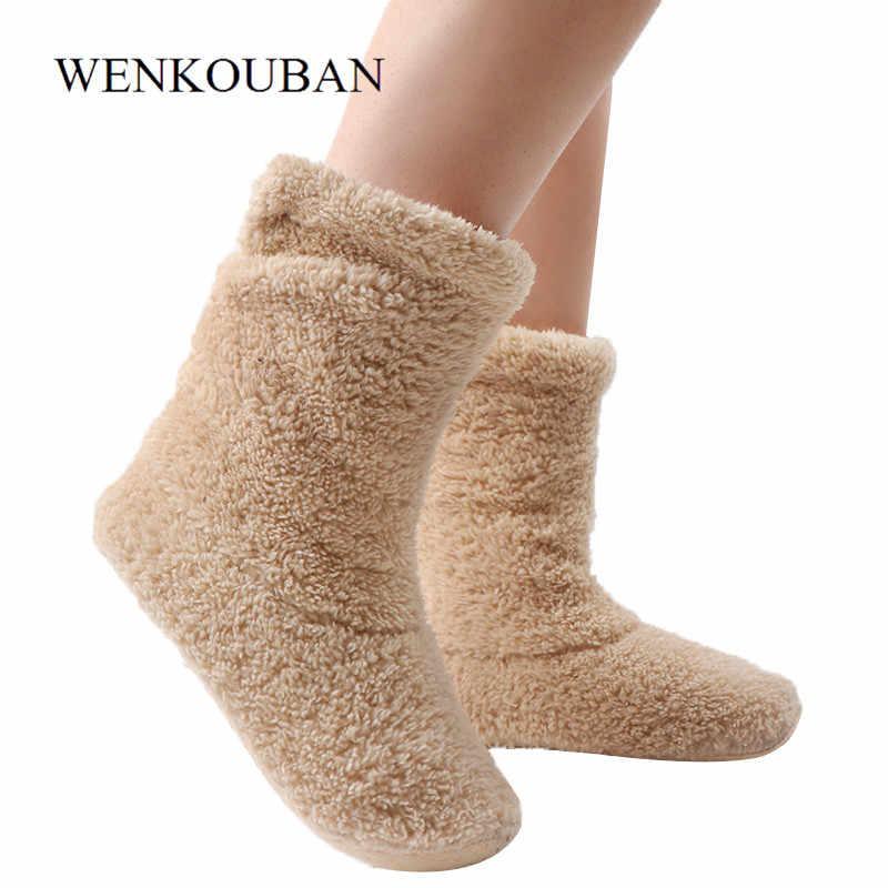 Kış yarım çizmeler kadın kapalı ayakkabı sıcak mercan polar kat ayakkabı bayanlar peluş ev Bota Mujer kürk çorap Boot Chaussures Femme