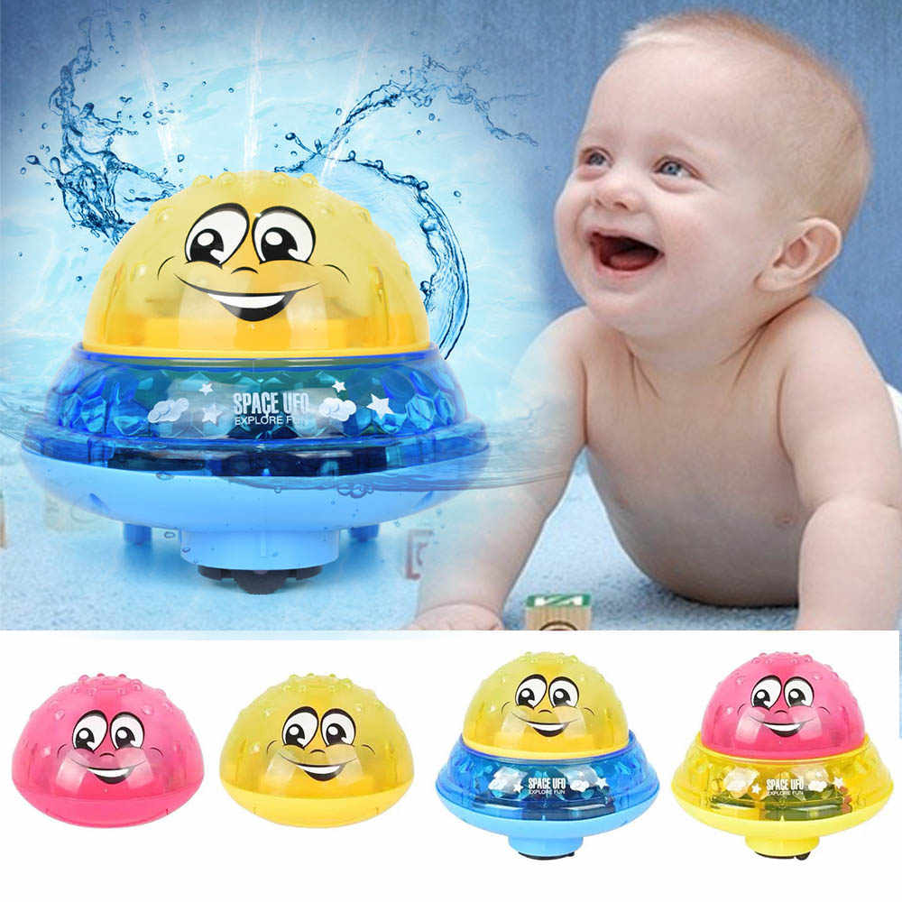 Funny Baby Bath Toys Electric Induction Water Spray Toys for Children Light & Music Rotatable Kids Swiming Pool Play Water Toys