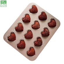 MyLifeUNIT Heart Shaped Madeleine Mold Pan 12-Cavity Carbon Steel Non-stick Madeleine Pan for Cake Cookie