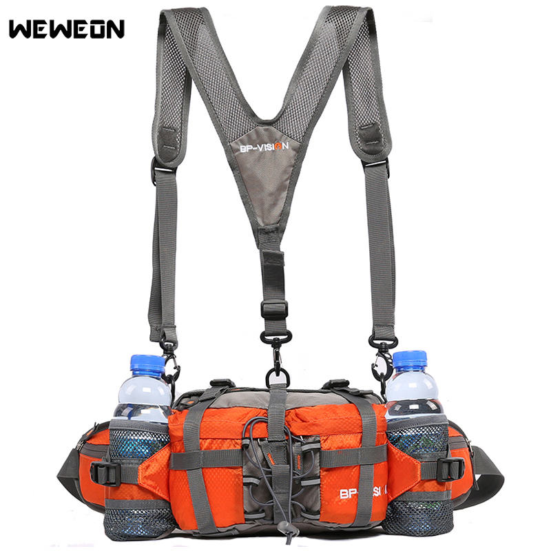 Professional Outdoor Hiking Waist Pack Cycling Waist Bag Backpack 11 Colors Mountaineering Bag Multifunction 6 Water Bottle 800D