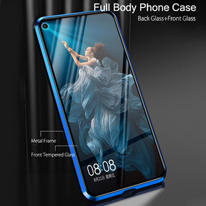 Image 3 - Case For Huawei Nova 5T Case Magnetic Metal 360 Dual Tempered Glass Shockproof Back Hard Bumper Cover For Huawei Honor 20 Case