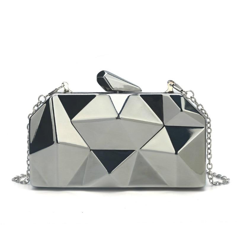 2019 New Fashion Women's Evening Bag Quality Designer Geometric Metal Clutch Party Wedding Chain Handbag