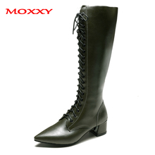 цены на 2019 New Pointed Toe Sexy Knee High Boots Women Shoes Zipper Lace Up Winter Ladies High Heel Boots Leather Green Overknee Boots  в интернет-магазинах