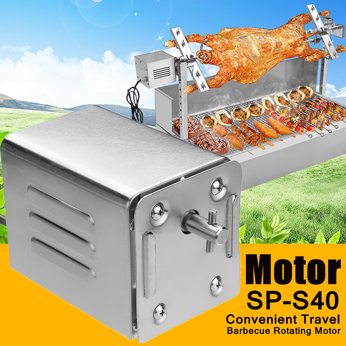 BBQ Grill Outdoors Roaster Electric Motor Barbeque Spit Rotisserie Motor For Roasted Lambs Piglets Chicken Motor For Cooking