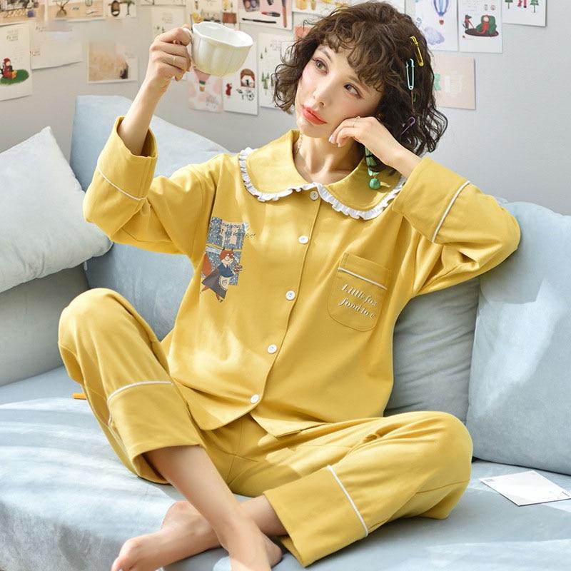 Tonmodi Дамский пижамный комплект весна и осень тонкий японский сладкий мультфильм печати с длинным рукавом милый Кукла Пижама с воротником Повседневная - Цвет: 5907