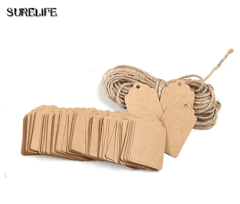 2000Pcs Tag Store Kraft Paper Blank DIY Wedding Gift Hemp Rope Price Label Hang 2*4cm/3*5cm - 2