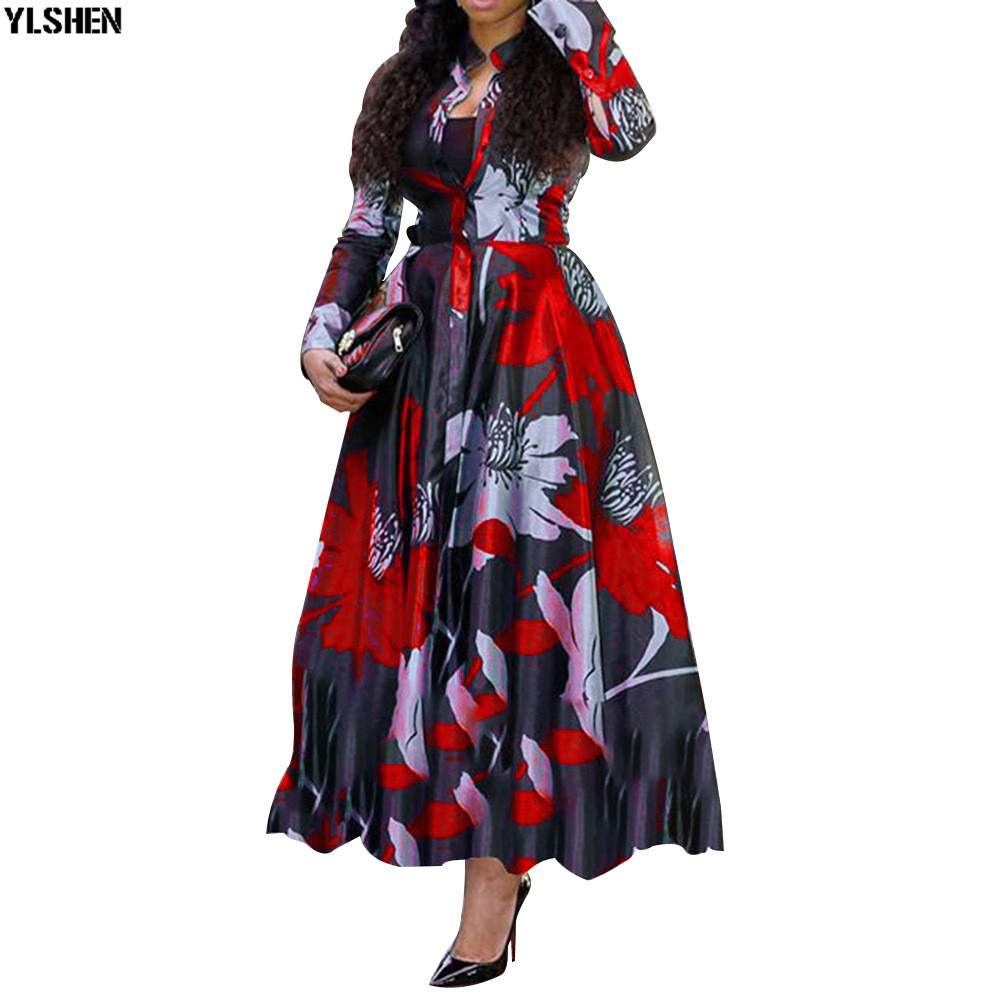 African Dresses For Women Plus Size New Style Dashiki Print Long Africa Dress African Clothes Robe Africaine Vetement Femme 2019