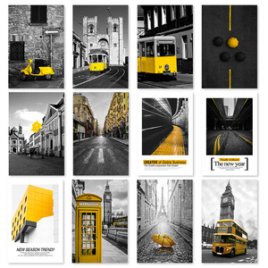 Black and White Landscape Wall Art Yellow Bus Car Canvas Poster Prints Nordic Style Paintings Yellow Building Picture for Room