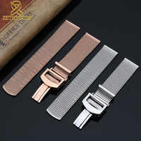High quality 316L stainless steel mesh bracelet 20mm 22mm watchband fold buckle solid metal band steel strap rose gold color