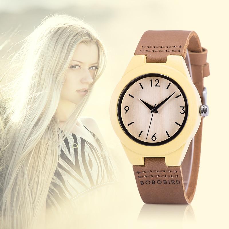 часы женские BOBO BIRD Wood Women Watches Reloj Mujer Quartz Wristwatches Ladies In Wooden Gift Box Reloj Mujer Drop Shipping