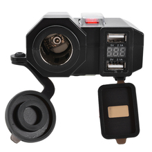 12V Motorcycle USB Charger Dual USB Ports Motorbike Charger Cigarette Lighter Socket 2-in-1 Voltmeter Display Waterproof Swith dual usb motorcycle charger waterproof motorcycle usb cigarette lighter power socket motorbike motor usb charger voltmeter 12v
