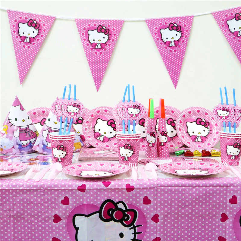 Amazing Cartoon Hello Kitty Pink Tablecloth Kid Girls Favor Birthday Pack Personalised Birthday Cards Veneteletsinfo