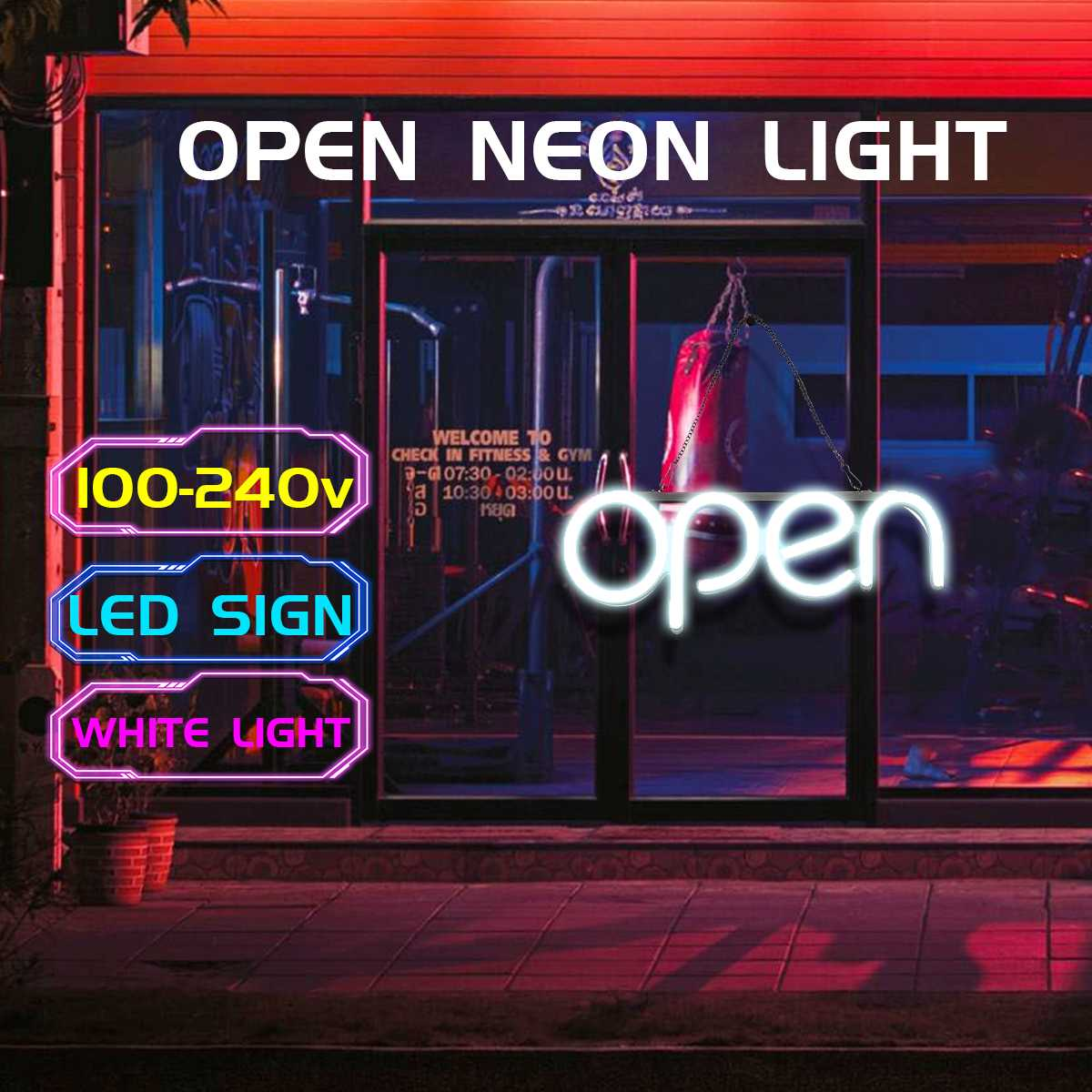 OPEN Neon Sign Light Bar Pub Display Party Neon Bulb Home Room Wall Decoration 100-240V US Plug Advertising Commercial Lighting