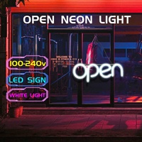 OPEN Neon Sign Light Bar Pub Display Party Neon Bulb Home Room Wall Decoration 100 240V US Plug Advertising Commercial Lighting