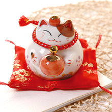 Ornaments Porcelain Piggy-Bank Ceramic Business-Gifts Home 4inch Lucky Cat