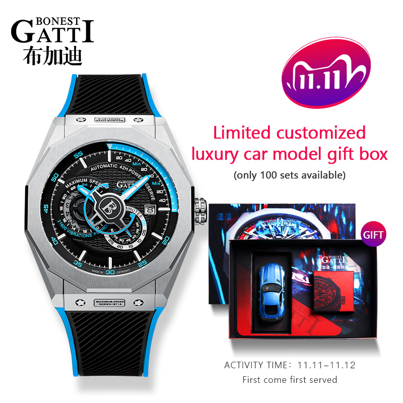 Automatic Mechanical Watch Men Top Brand GATTI Luxury Leather Mens Wristwatches Waterproof Sports Blue Watches Relogio Masculino Mechanical Watches  - AliExpress
