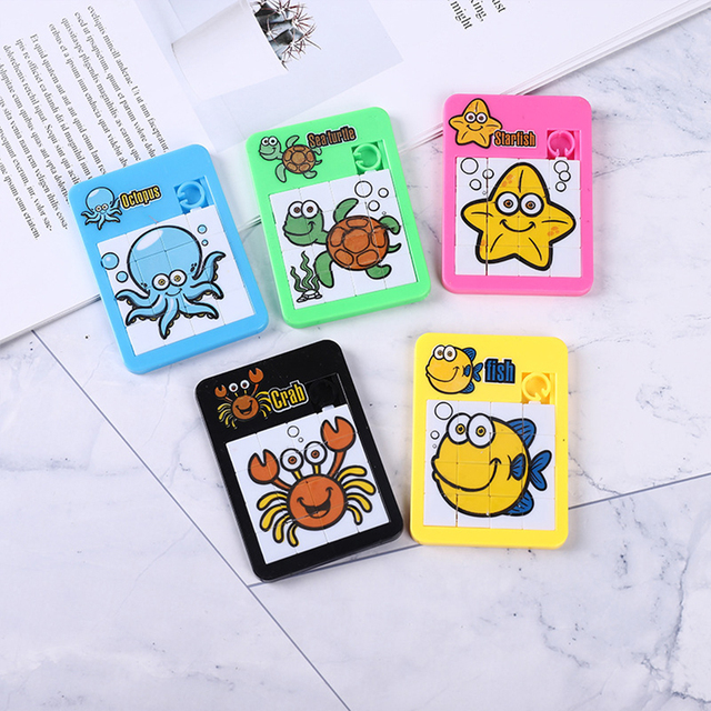 3D Slide Puzzle Alphabet Early Educational Developing Toy for Children Jigsaw Digital Number 1-16 Animal Cartoon Game Kids Toys 2
