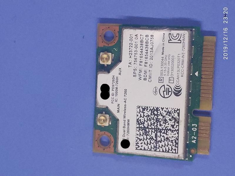 For Hp 710661-001 756753-001 784639-005 Intel Dual Band Wireless-ac 7260 7260hmw Half Mini Pcie Pci-express Wlan Wifi  TESED OK