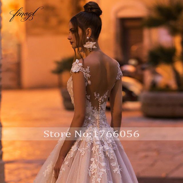 Fmogl Sexy Backless Cap Sleeve Lace Princess Wedding Dress 2021 Appliques Beaded Flowers Court Train Vintage A Line Bridal Gowns 3