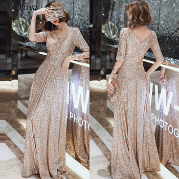 Sparkle Sequined Evening Dresses It's Yiiya K004 Double V-neck Evening Dress Elegant Robe De Soiree 2020 Plus Size Evening Gown 1