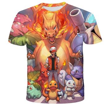 2021 letnie ubrania dla dzieci Pokémon T-Shirt oddychające dziecięce ubrania dla dzieci chłopcy i dziewczęta 3D fajne szorty rękaw Fashion Cartoon tanie i dobre opinie POLIESTER CN (pochodzenie) Lato 25-36m 4-6y 7-12y 12 + y Damsko-męskie moda W stylu rysunkowym REGULAR Z okrągłym kołnierzykiem