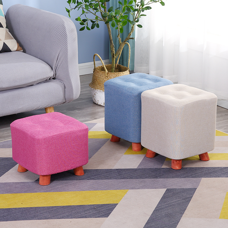 Household Creative Cloth Stool Fashion Living Room Sofa Stool Solid Wooden Adult Kids Bench Minimalist Modern Couch Shoes Chair