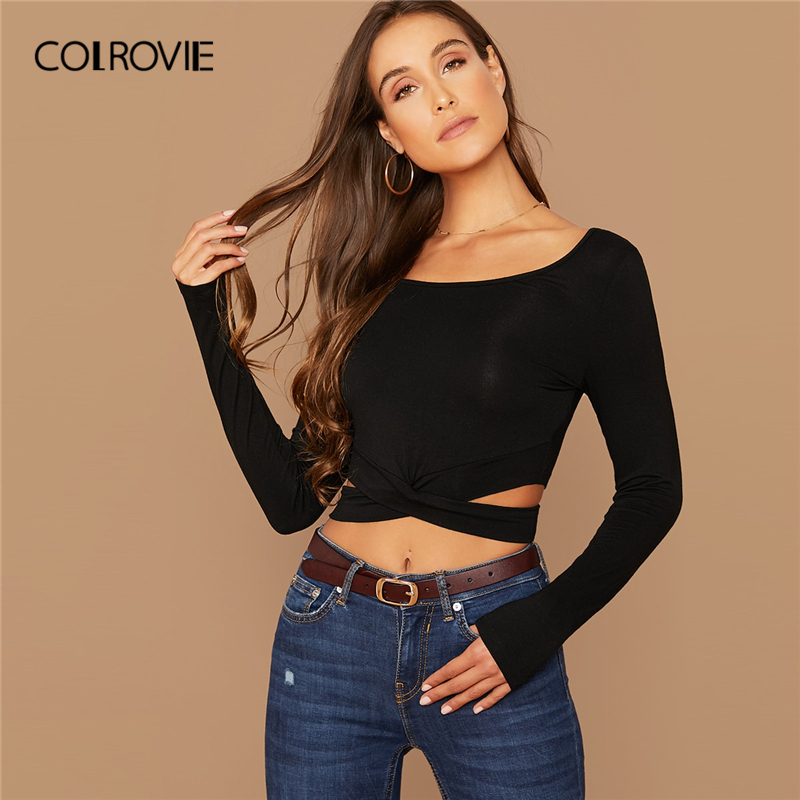 COLROVIE Black Cut Out Crisscross Front Crop Tees Women Casual Solid Sexy Slim Tees 2019 Autumn Streetwear Basics Pullover Tops