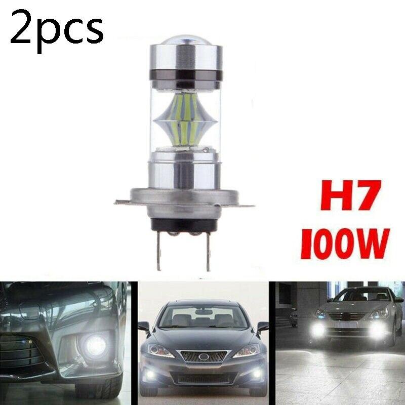 2pcs H7 DC 12V-24V 100W 8000K 1800LM Car LED Fog Tail Driving Car Headlight Bulb White Light Lamp Bulb PMMA Lens
