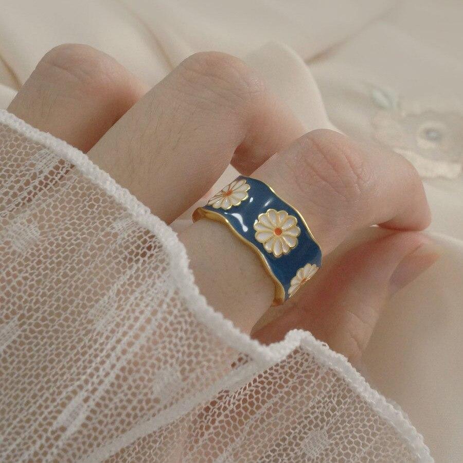 Мода цветок в Корейском стиле Венок Кольца для женщин в стиле панк Модные Винтажные сливы кольцо небольшой эмаль, цветок, кольцо, обручальны...