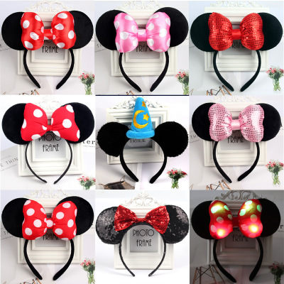 Christmas Mickey Ears Headband Minnie Hairband Pink Sequin Hair Clips Bows For Girls Antlers Hair Accessories For Birthday Party