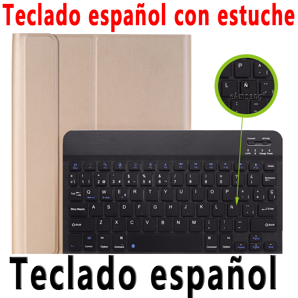 Spanish Keyboard Clear For iPad 10 2 2019 2020 Keyboard Case with Pencil Holder for Apple iPad 7th 8th