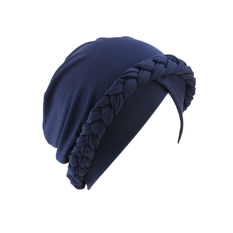 Hacf2a2056b844db9b130d298bf5eb5290 - NEW arrival Retro Women Braid India caps Muslim Cancer Chemo full cover-up  Beanie Hair Loss Turban femme Wrap