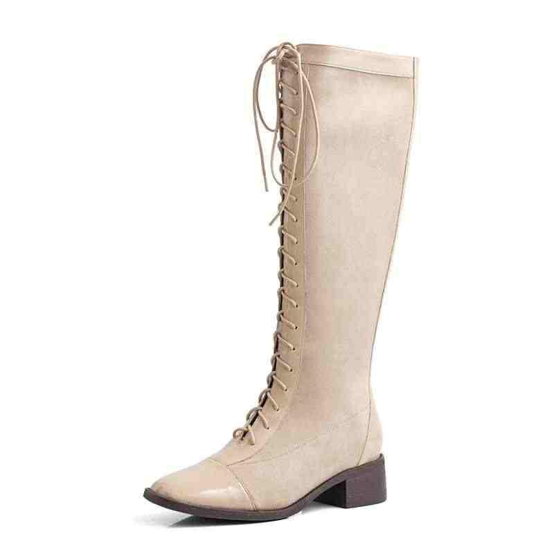Krazing Pot vintage İngiliz patent deri akın kare ayak med topuklu moda lace up kış sıcak kadın uyluk yüksek çizmeler l2f2