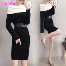 Ldyrwqy трикотажное платье с длинными рукавами весеннее женское