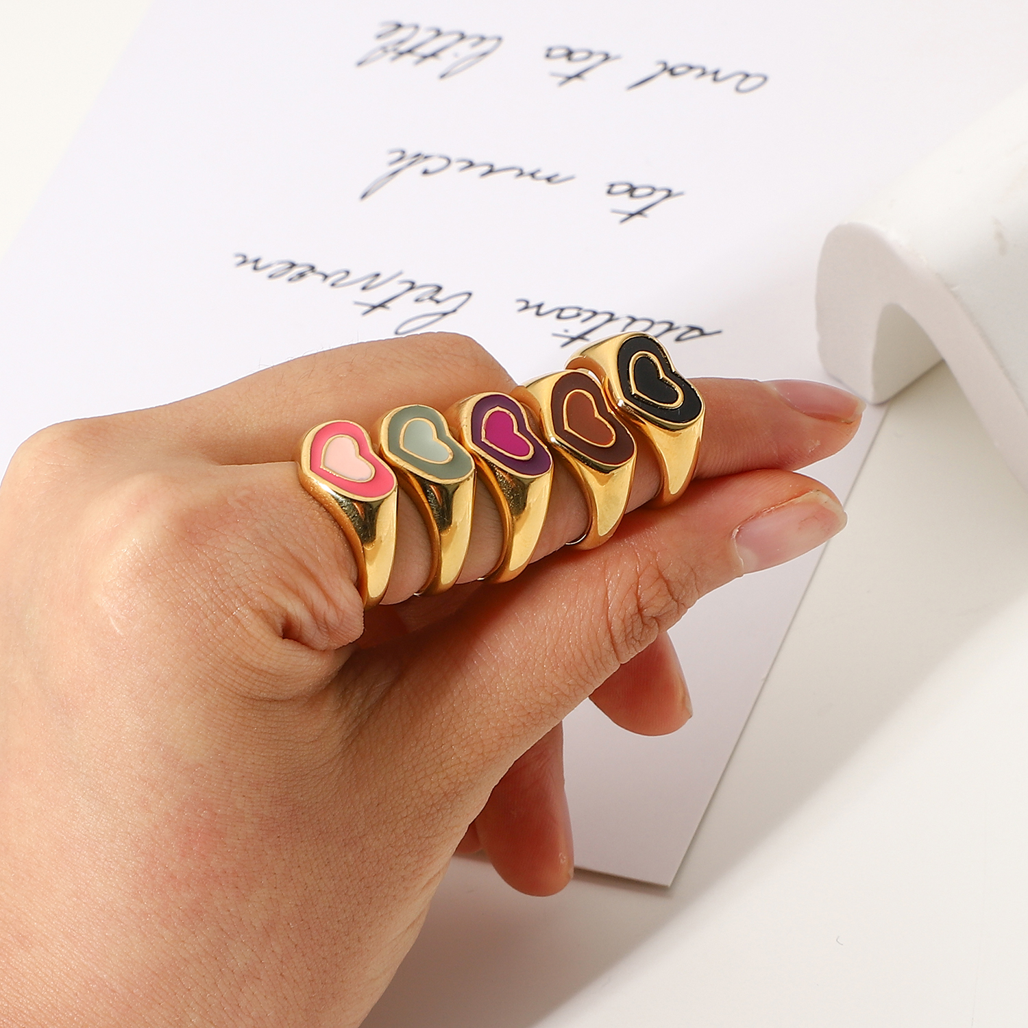 Gold Plated Stainless Steel Colorful Double Layer Love Heart Chunky Rings For Women Candy Color Ins Rings Waterproof Jewelry