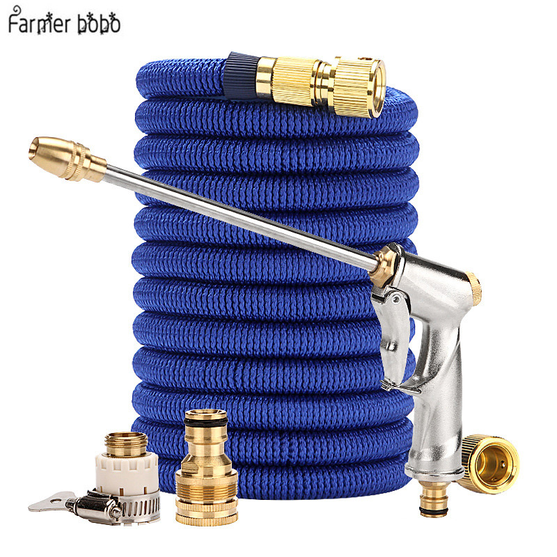 Hose- Pipe 25FT-100FT Garden Hose Expandable Flexible Water Hose Plastic Hose Handy Pipe With Spray Gun Watering Double Latex(China)
