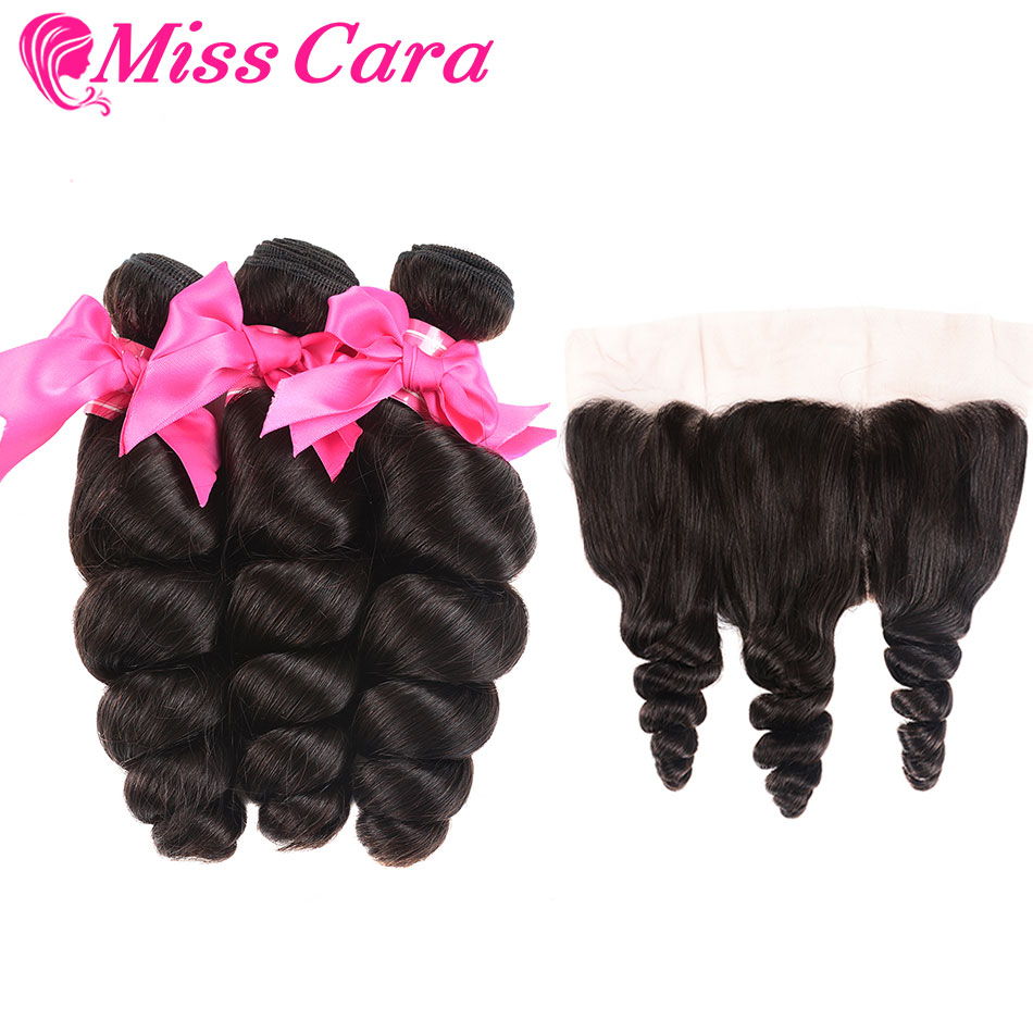 4 Bundles Malaysian Loose Wave Frontal 100 Human Hair Bundles With Frontal Miss Cara Remy