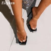 Eiltken haute qualité strass pantoufles Design de mode bout carré talons aiguilles Sexy Transparent PVC gelée sandales femmes Mules