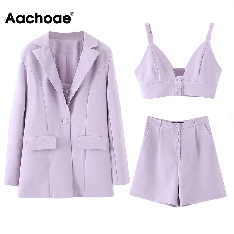 Aachoae Three Piece Set Women High Street Solid 3 Piece Set Tops And Shorts Casual Suit Blazer With Sexy Camisole Chic Short