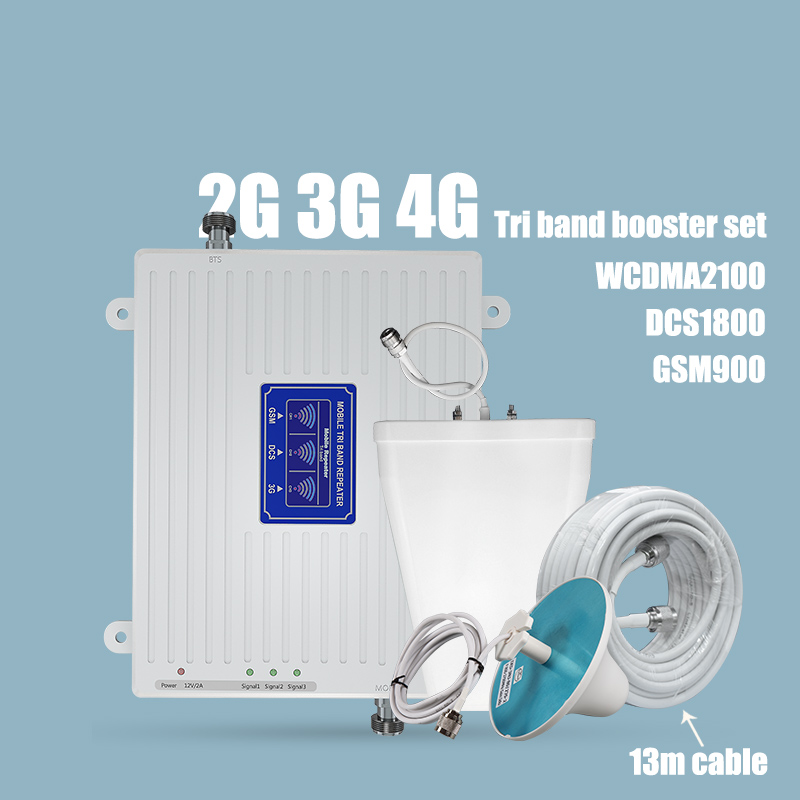 Tri Band Mobile Signal Repeater 2G 3G 4G Signal Booster 900 1800 2100MHz Mobile Cellular Signal Repeater Antenna Set