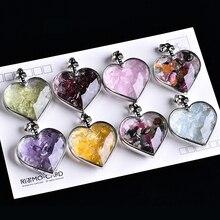 Colgante de botella de los deseos Reiki, amor Natural, colgante de piedra Natural, regalo de cumpleaños romántico