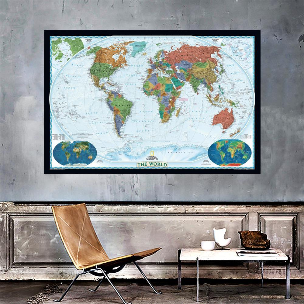 150x225cm The World Physical Map With World Land Cover And Landforms Waterproof World Map